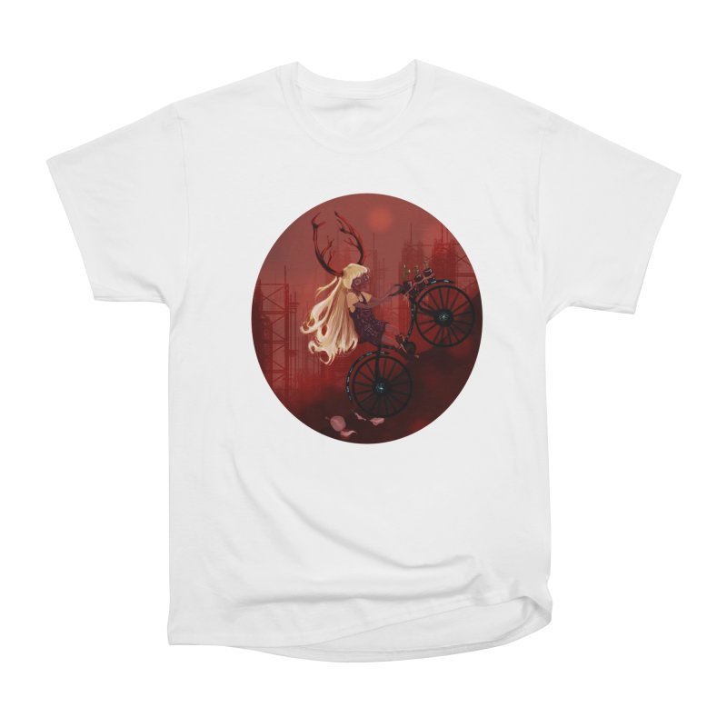 Deer girl on her bike Women's Heavyweight Unisex T-Shirt by sawyercloud's Artist Shop