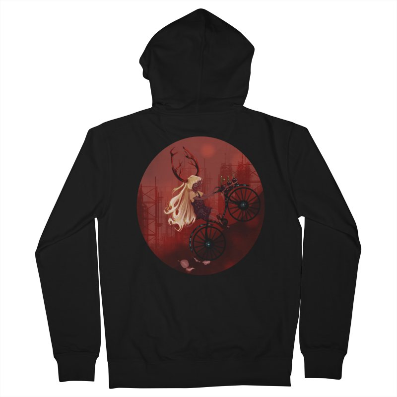 Deer girl on her bike Women's French Terry Zip-Up Hoody by sawyercloud's Artist Shop