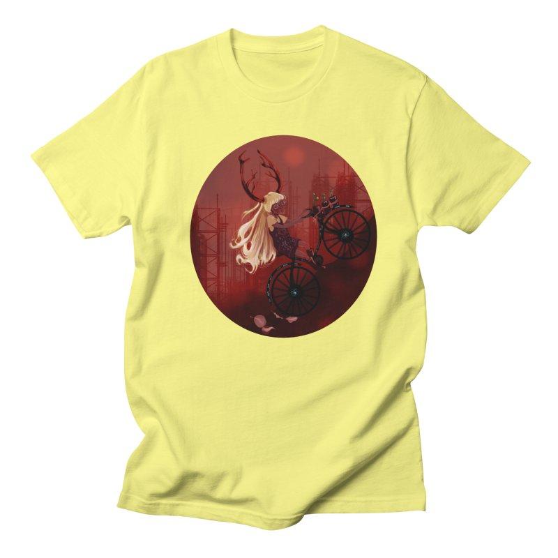 Deer girl on her bike Men's Regular T-Shirt by sawyercloud's Artist Shop