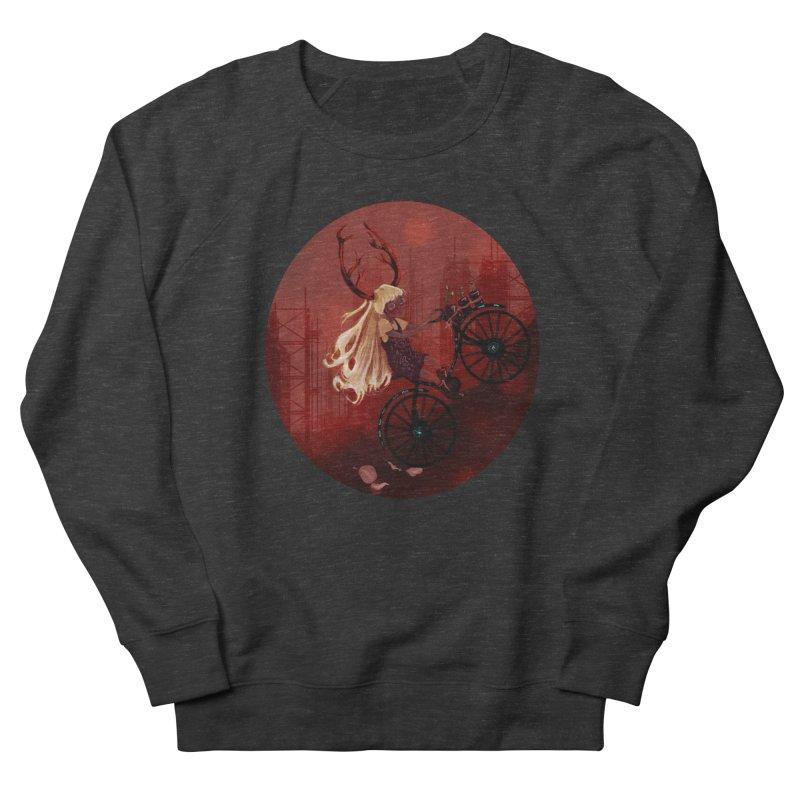 Deer girl on her bike Women's Sweatshirt by sawyercloud's Artist Shop
