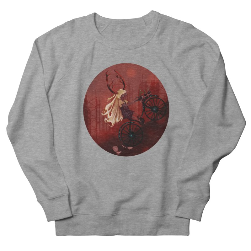 Deer girl on her bike Women's French Terry Sweatshirt by sawyercloud's Artist Shop