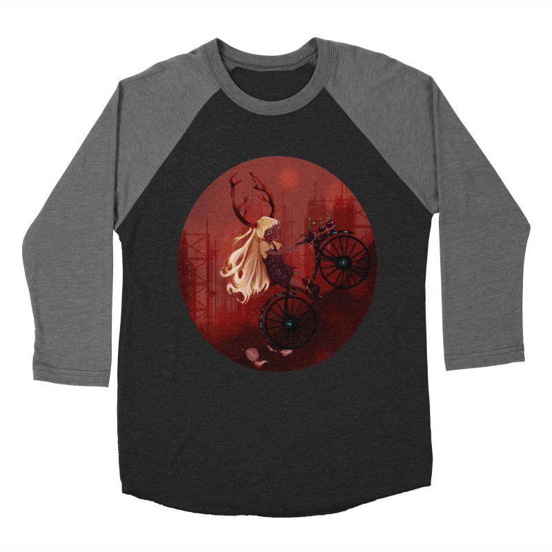 Deer girl on her bike Women's Baseball Triblend T-Shirt by sawyercloud's Artist Shop
