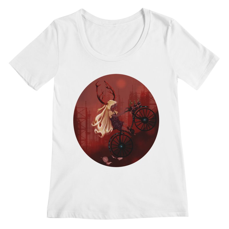 Deer girl on her bike Women's Regular Scoop Neck by sawyercloud's Artist Shop