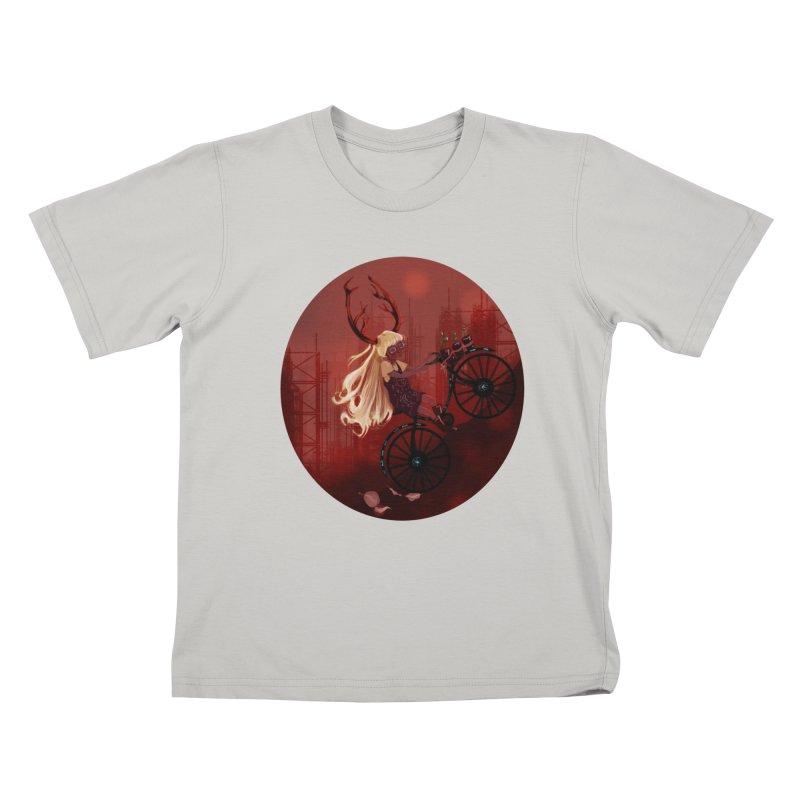 Deer girl on her bike Kids T-Shirt by sawyercloud's Artist Shop