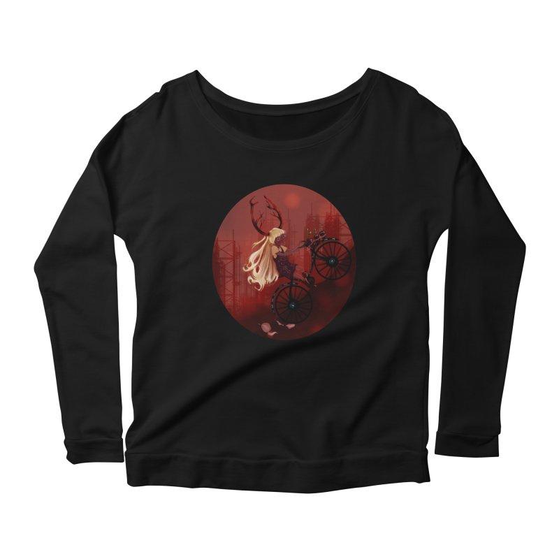 Deer girl on her bike Women's Scoop Neck Longsleeve T-Shirt by sawyercloud's Artist Shop