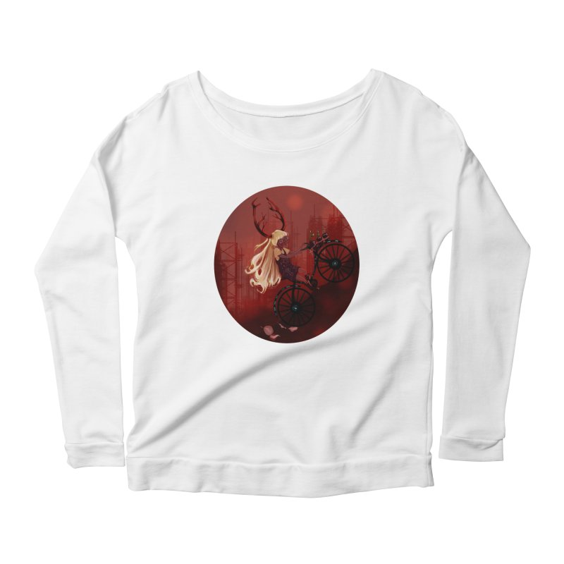 Deer girl on her bike Women's Longsleeve Scoopneck  by sawyercloud's Artist Shop