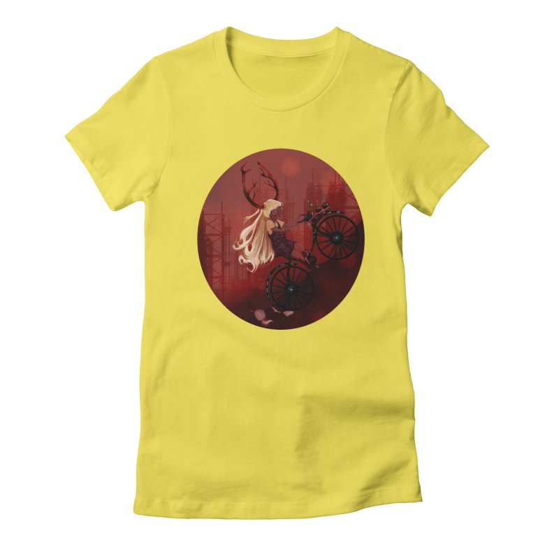 Deer girl on her bike Women's Fitted T-Shirt by sawyercloud's Artist Shop