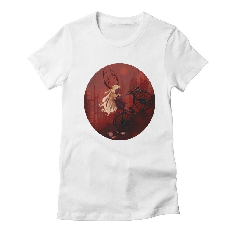 Deer girl on her bike Women's Fitted T-Shirt by sawyercloud's Artist Shop