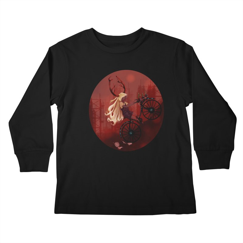 Deer girl on her bike Kids Longsleeve T-Shirt by sawyercloud's Artist Shop