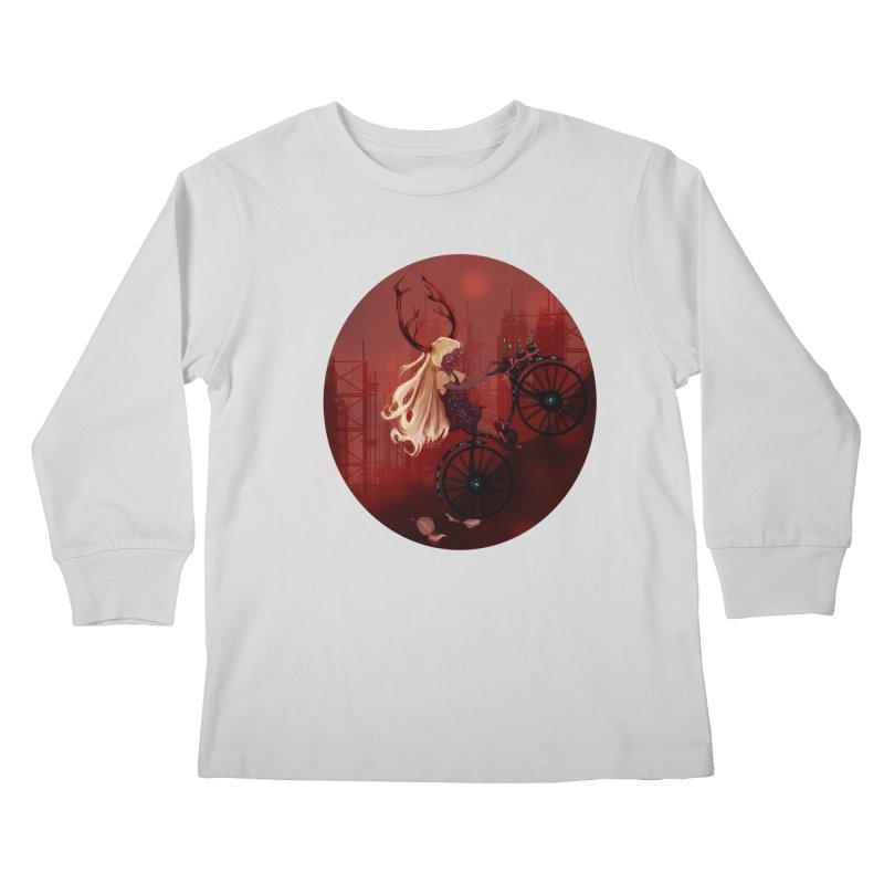Deer girl on her bike Kids Longsleeve T-Shirt by sawyercloud's Artist Shop