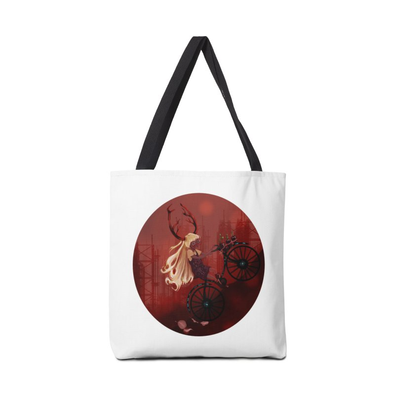 Deer girl on her bike Accessories Tote Bag Bag by sawyercloud's Artist Shop
