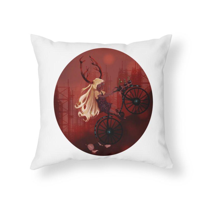 Deer girl on her bike Home Throw Pillow by sawyercloud's Artist Shop