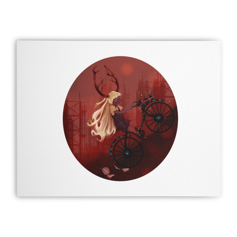 Deer girl on her bike Home Stretched Canvas by sawyercloud's Artist Shop