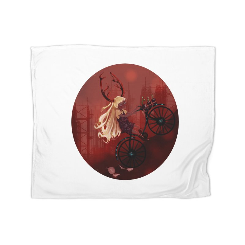 Deer girl on her bike Home Blanket by sawyercloud's Artist Shop