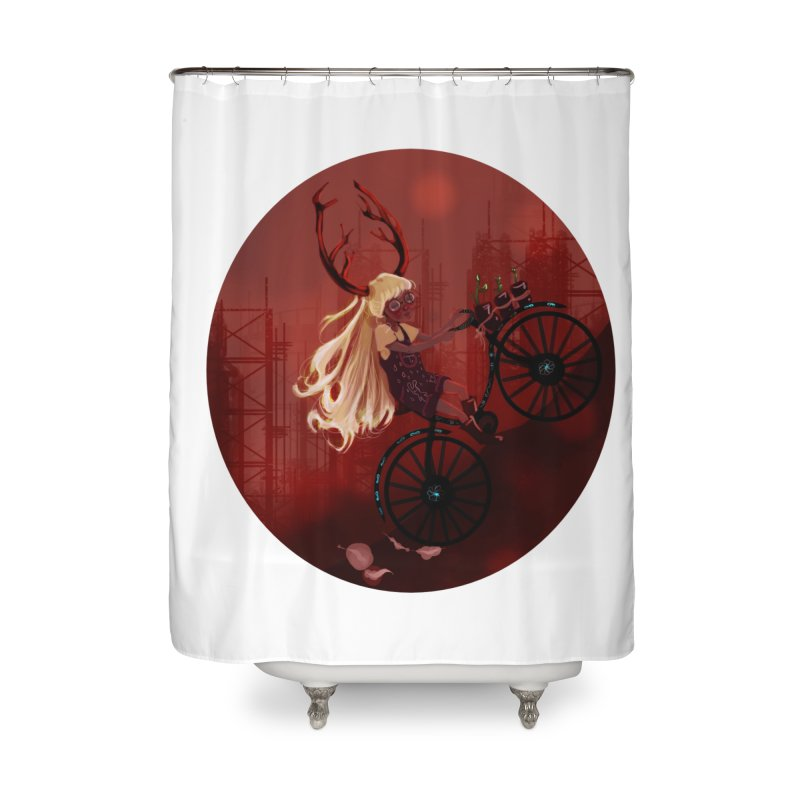 Deer girl on her bike Home Shower Curtain by sawyercloud's Artist Shop
