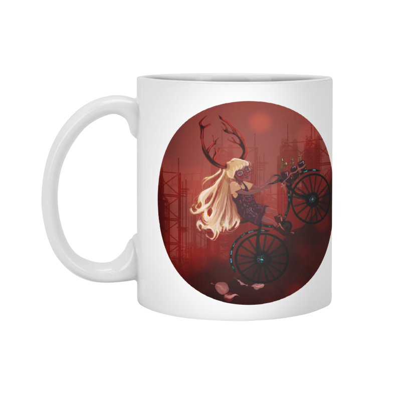 Deer girl on her bike Accessories Mug by sawyercloud's Artist Shop