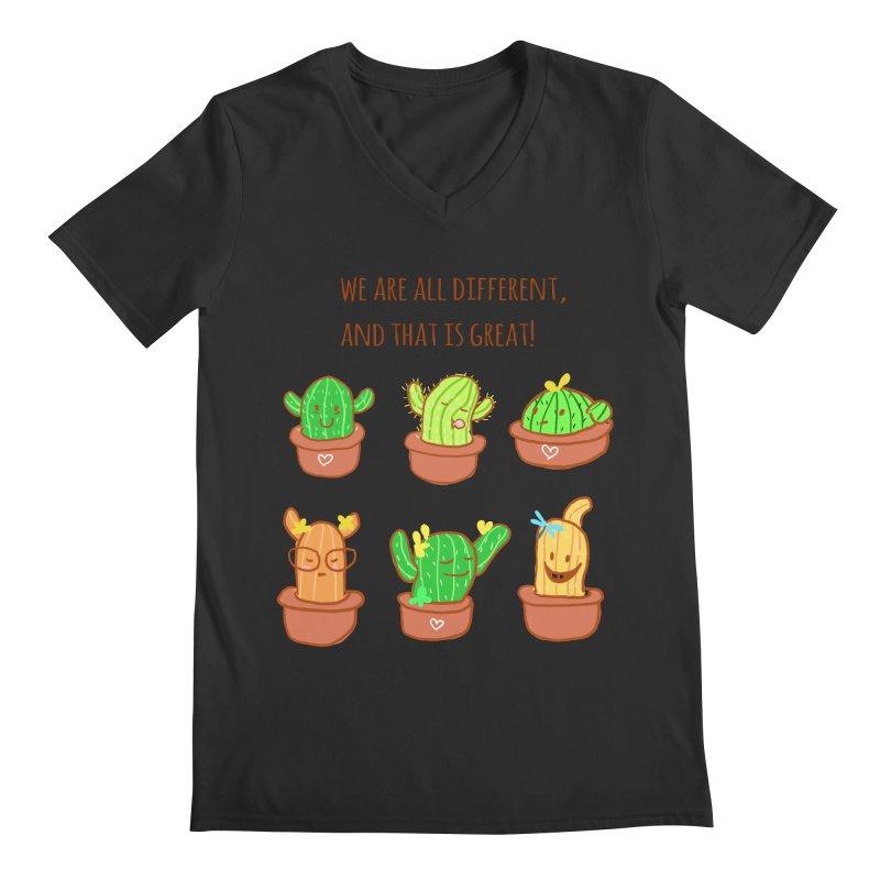 Happy cactus Men's V-Neck by sawyercloud's Artist Shop