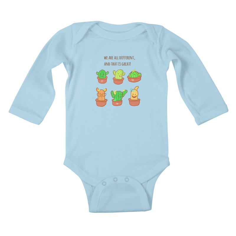 Happy cactus Kids Baby Longsleeve Bodysuit by sawyercloud's Artist Shop