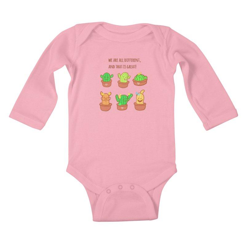 Happy cactus Kids Baby Longsleeve Bodysuit by sawyercloud's Artist Shop