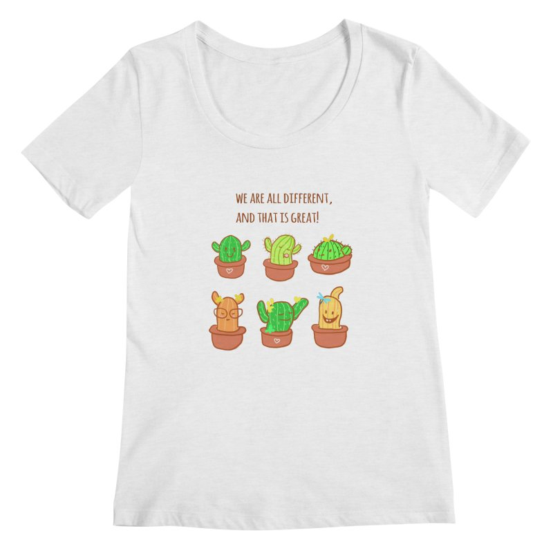 Happy cactus Women's Regular Scoop Neck by sawyercloud's Artist Shop