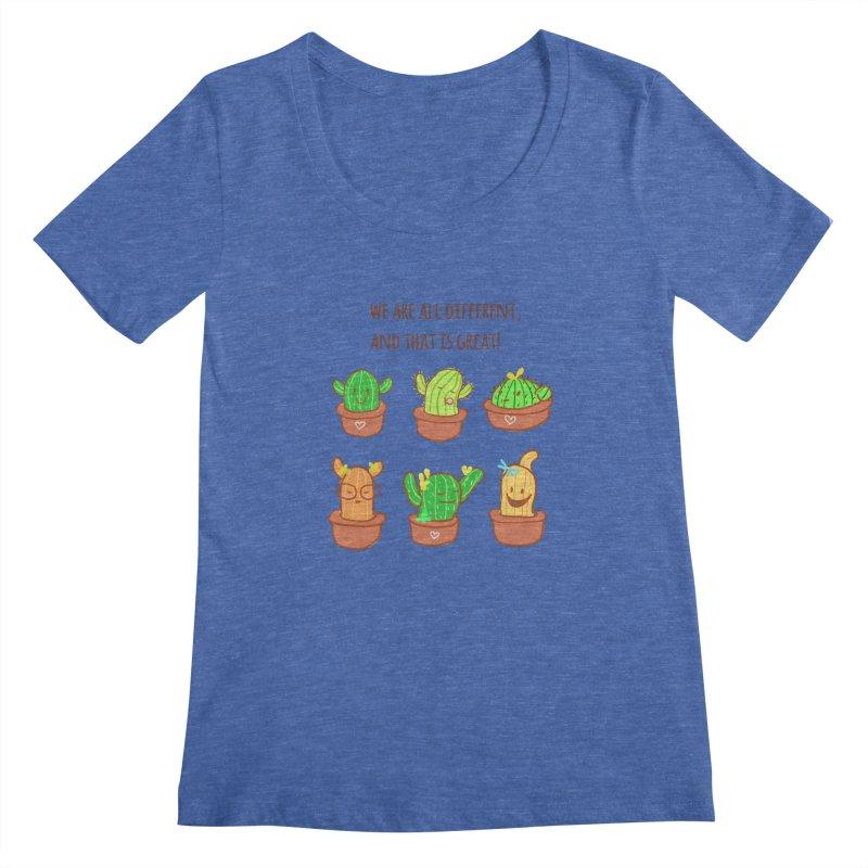 Happy cactus Women's Regular Scoop Neck by sawyercloud's Artist Shop