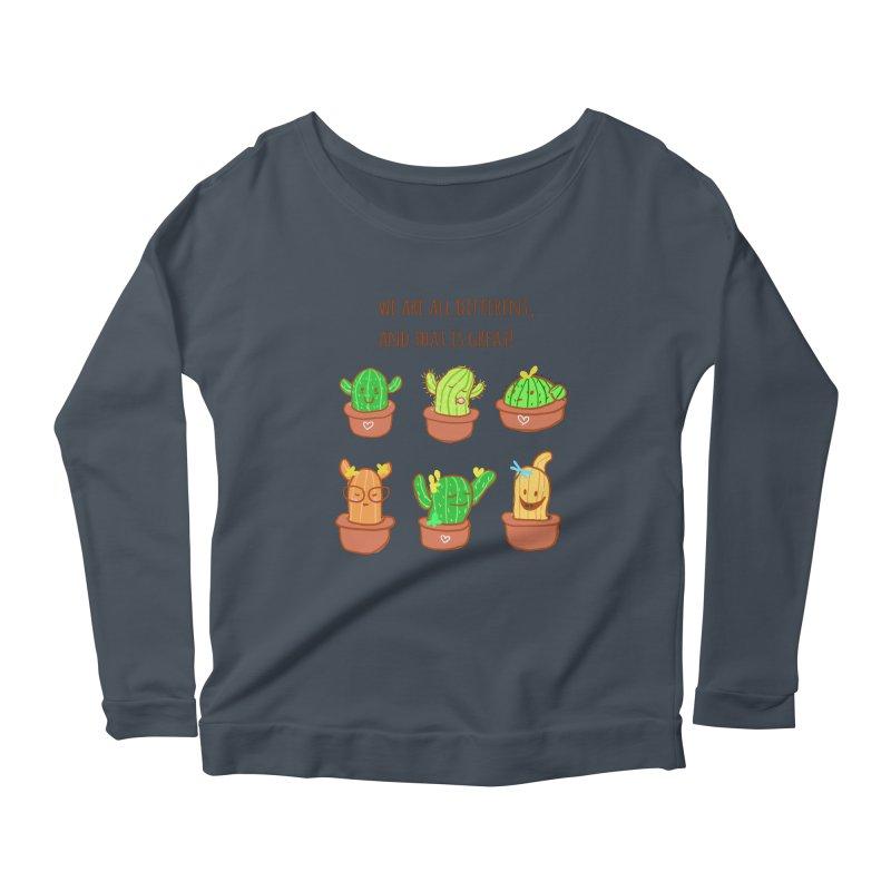 Happy cactus Women's Longsleeve Scoopneck  by sawyercloud's Artist Shop