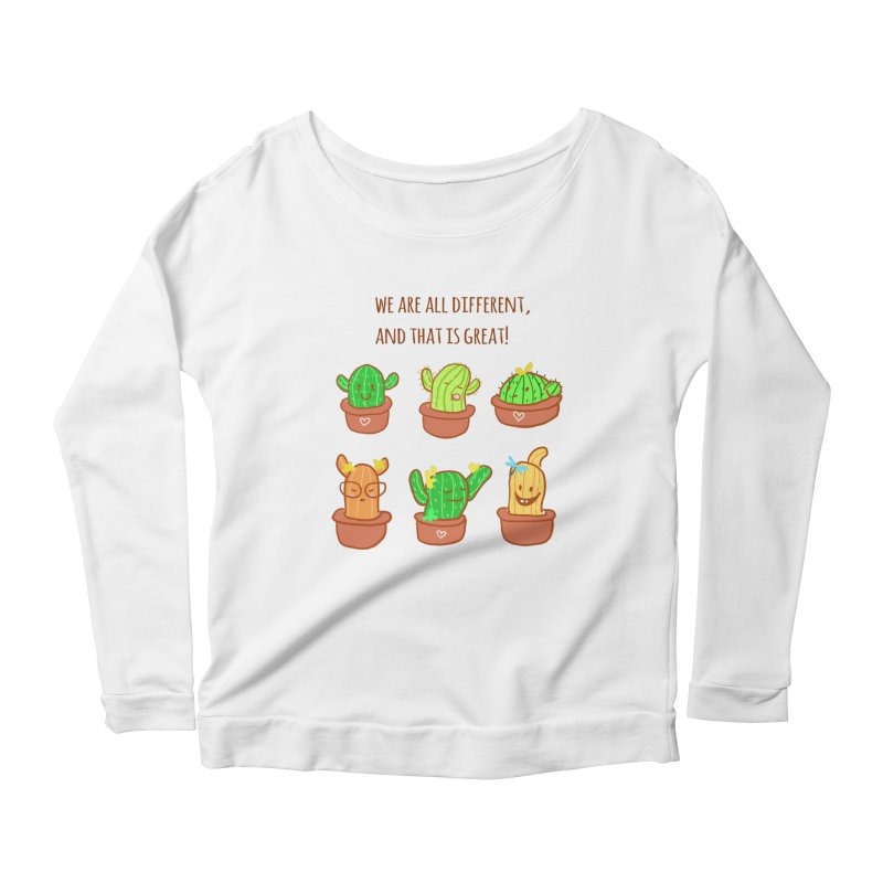 Happy cactus Women's Longsleeve Scoopneck  by sawyercloud's Artist Shop