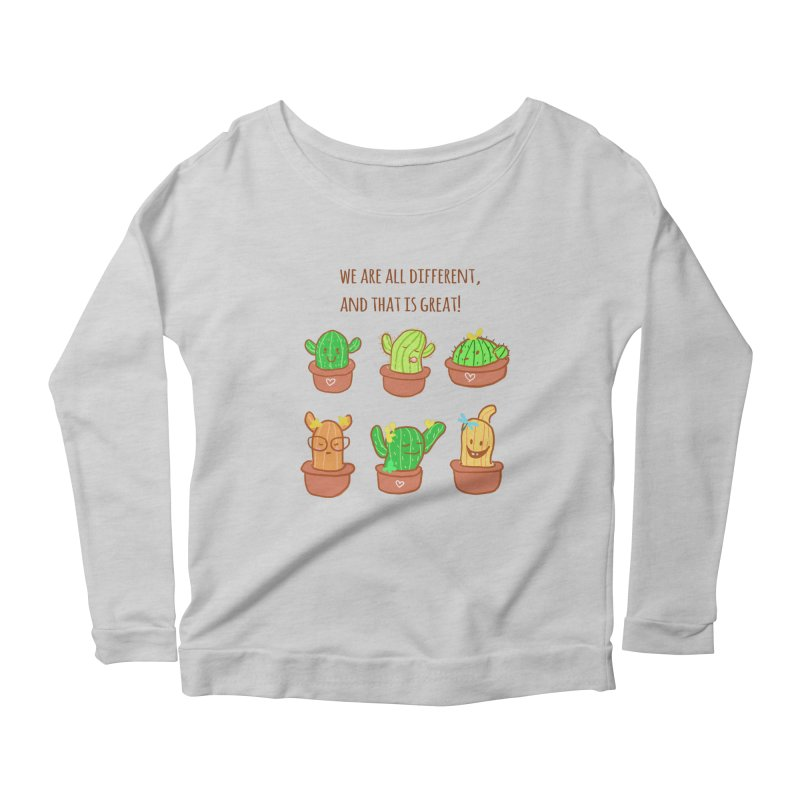 Happy cactus Women's Scoop Neck Longsleeve T-Shirt by sawyercloud's Artist Shop