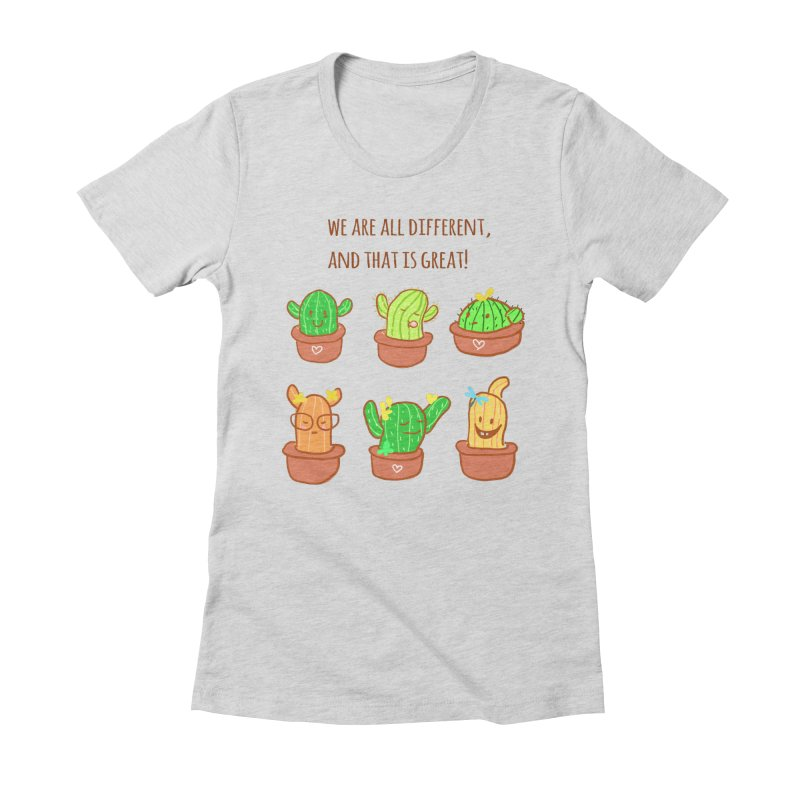 Happy cactus Women's Fitted T-Shirt by sawyercloud's Artist Shop