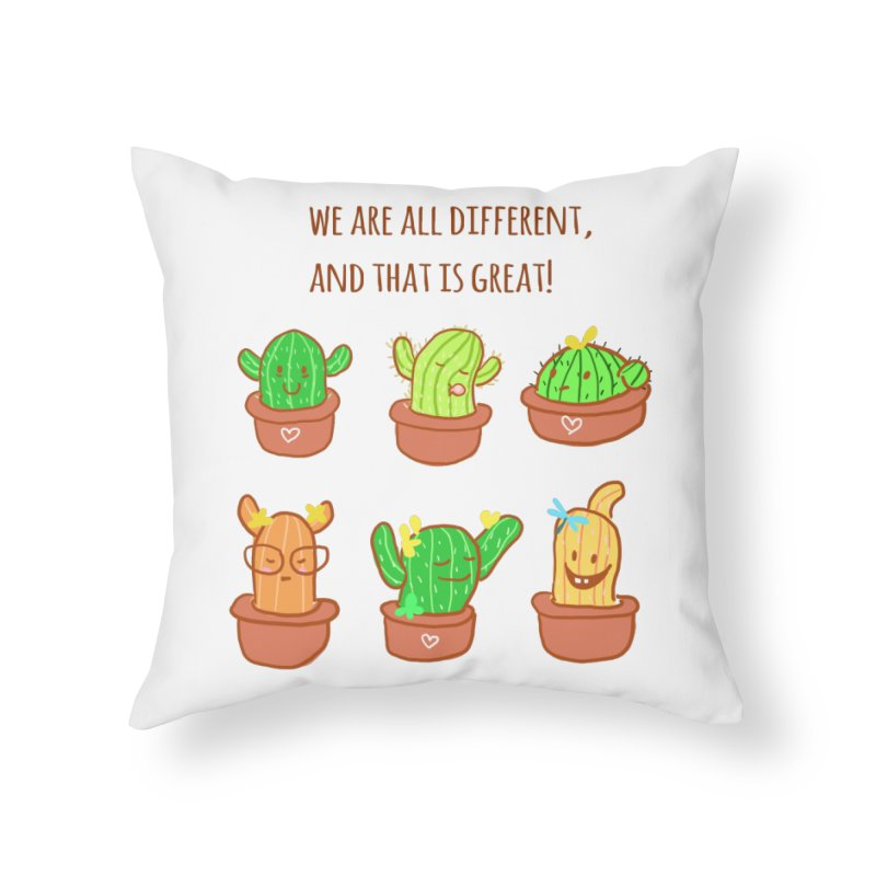 Happy cactus Home Throw Pillow by sawyercloud's Artist Shop
