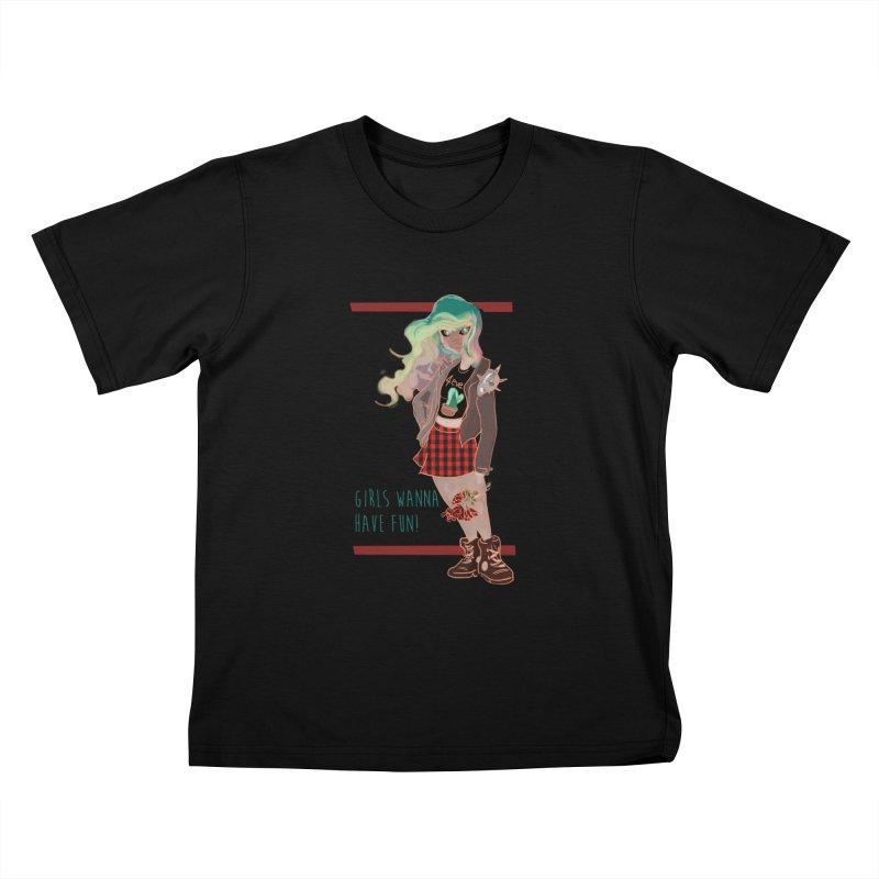 Punk Girl Kids T-Shirt by sawyercloud's Artist Shop