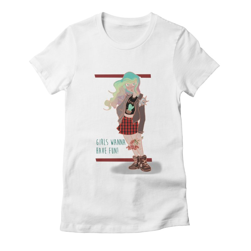 Punk Girl Women's Fitted T-Shirt by sawyercloud's Artist Shop