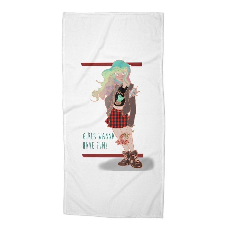 Punk Girl Accessories Beach Towel by sawyercloud's Artist Shop