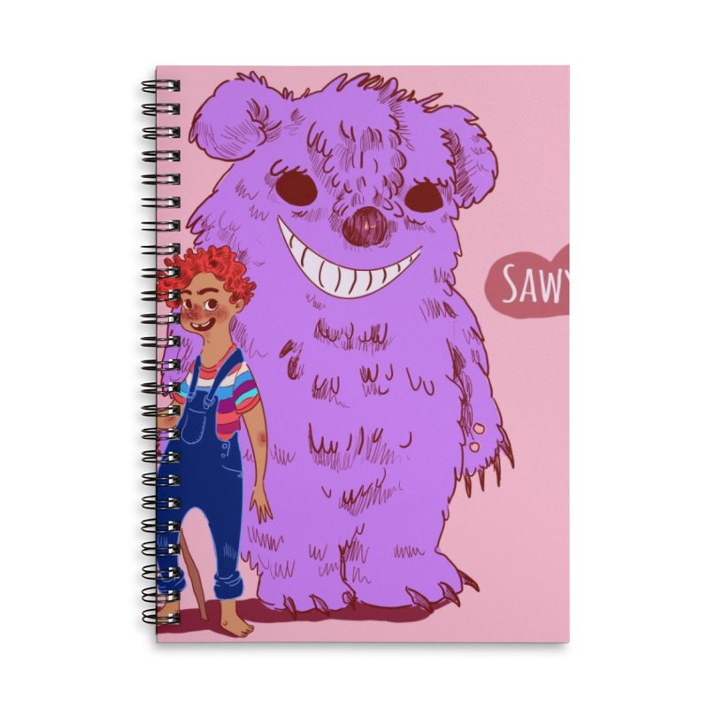 Monster and friend Accessories Lined Spiral Notebook by sawyercloud's Artist Shop