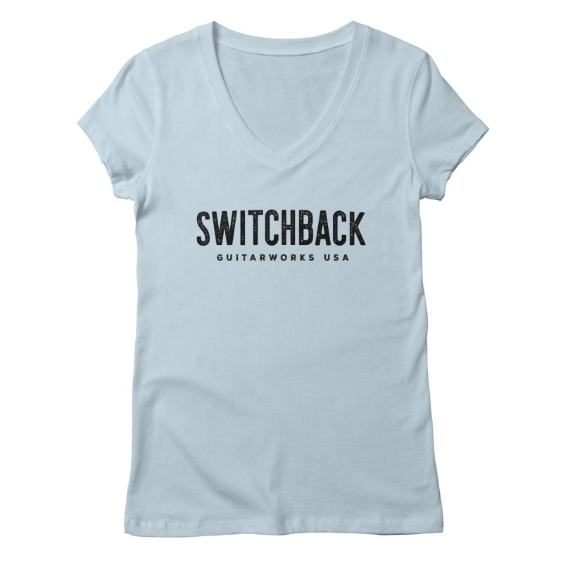 Grungy Text Tee Women's V-Neck by Switchback Guitarworks USA