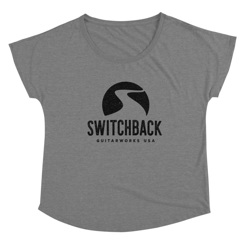 Black Grungy Logo Tee Women's Scoop Neck by Switchback Guitarworks USA