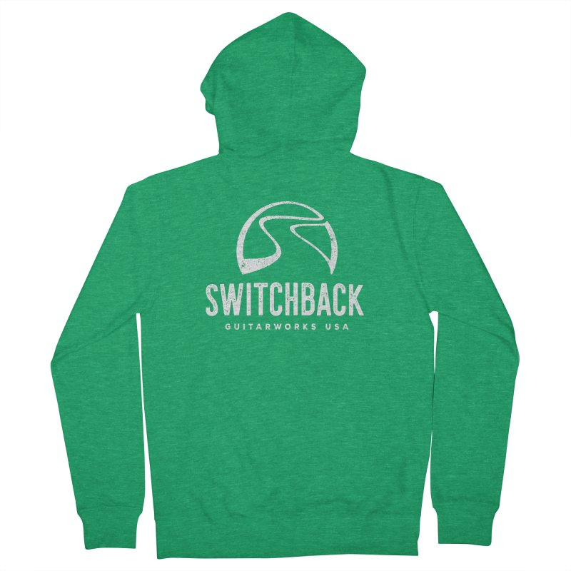 White Grungy Logo Tee Women's Zip-Up Hoody by Switchback Guitarworks USA