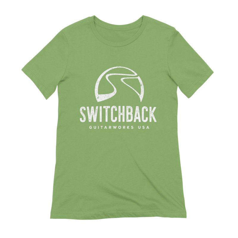 White Grungy Logo Tee Women's T-Shirt by Switchback Guitarworks USA
