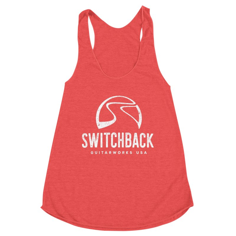 White Grungy Logo Tee Women's Tank by Switchback Guitarworks USA