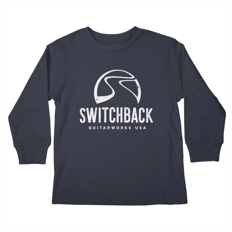 White Grungy Logo Tee Kids Longsleeve T-Shirt by Switchback Guitarworks USA