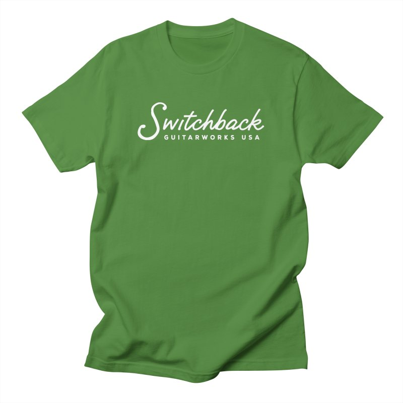 White Script Tee Men's T-Shirt by Switchback Guitarworks USA