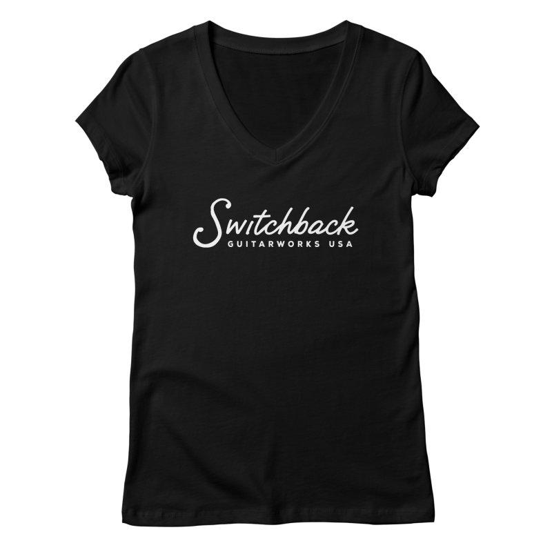 White Script Tee Women's V-Neck by Switchback Guitarworks USA