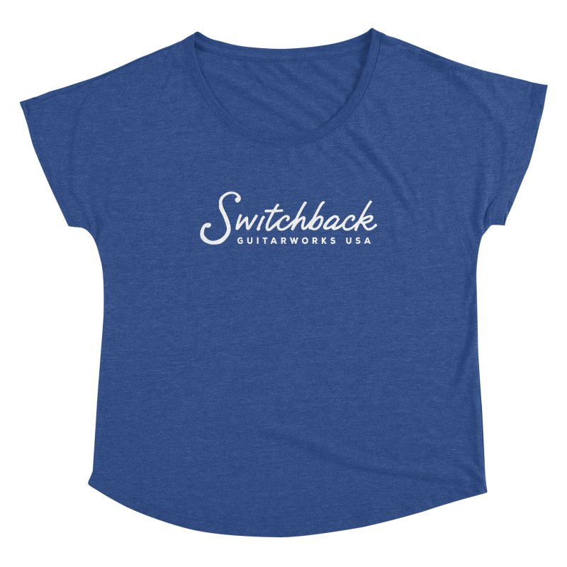 White Script Tee Women's Scoop Neck by Switchback Guitarworks USA