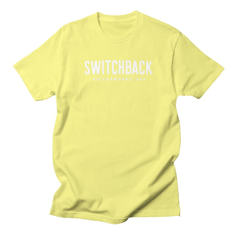White Grungy Text Tee Men's T-Shirt by Switchback Guitarworks USA