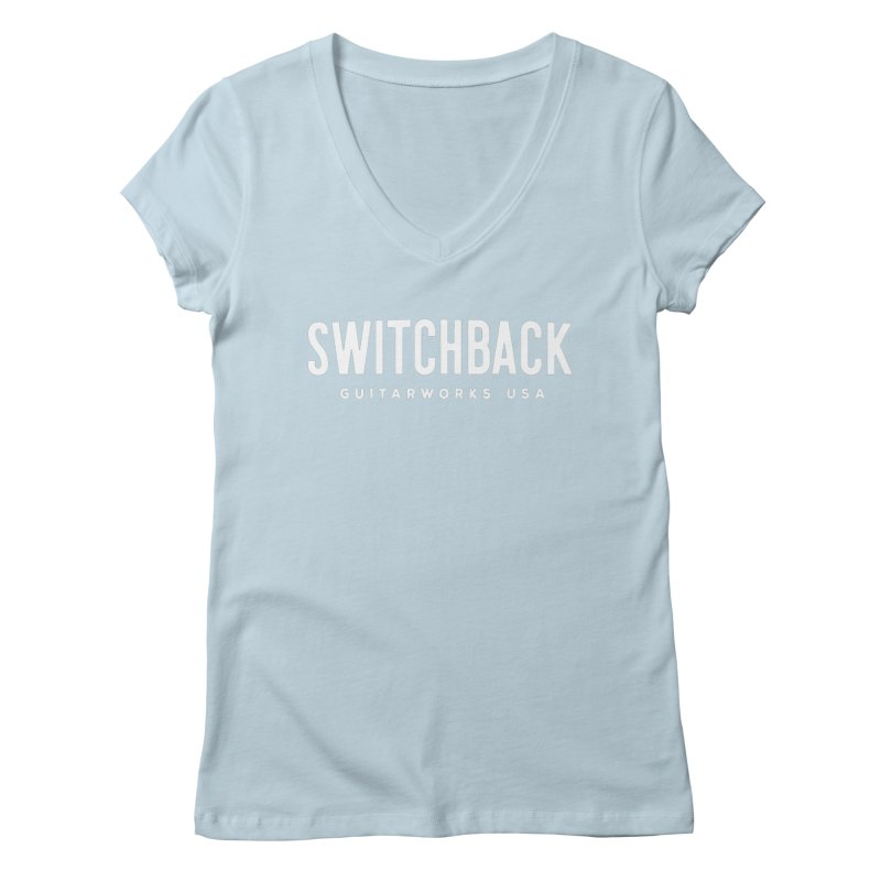 White Grungy Text Tee Women's V-Neck by Switchback Guitarworks USA
