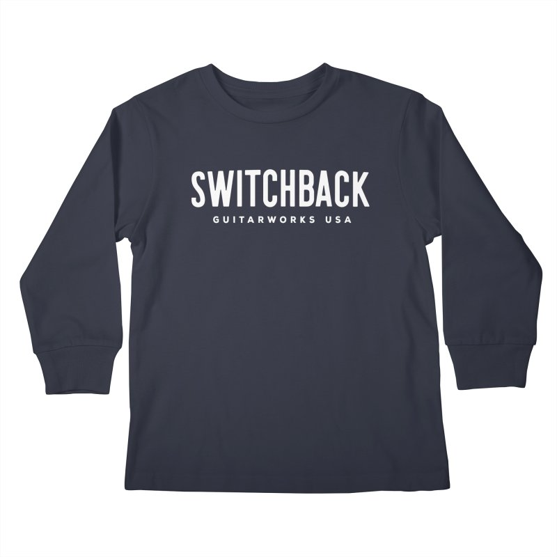 White Grungy Text Tee Kids Longsleeve T-Shirt by Switchback Guitarworks USA