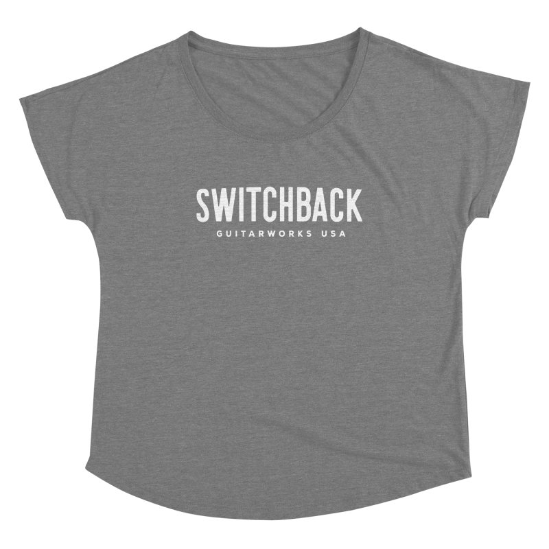 White Grungy Text Tee Women's Scoop Neck by Switchback Guitarworks USA