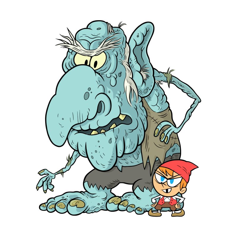 the boy and the troll Home Mounted Aluminum Print by scabfarm
