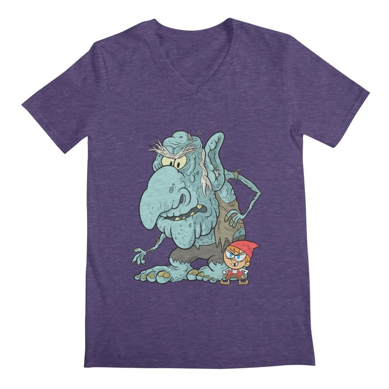 the boy and the troll Men's Regular V-Neck by scabfarm