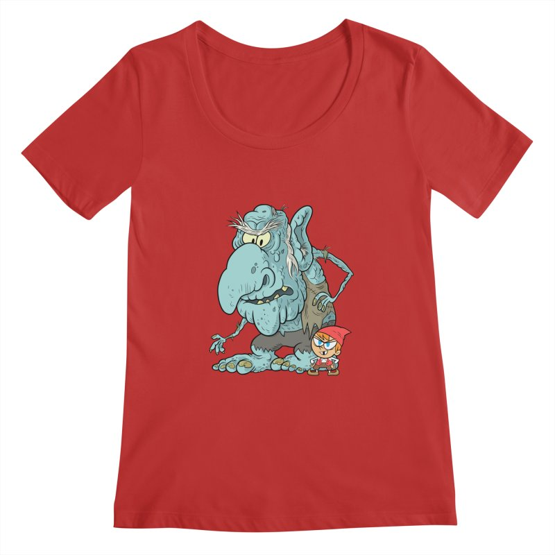 the boy and the troll Women's Regular Scoop Neck by scabfarm